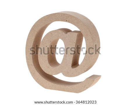 Wooded email symbol isolated on white background (Commercial At Symbol)  - stock photo