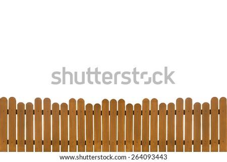 wooden fence isolated on white background - stock photo