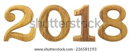 2018 wooden isolated on white background - stock photo