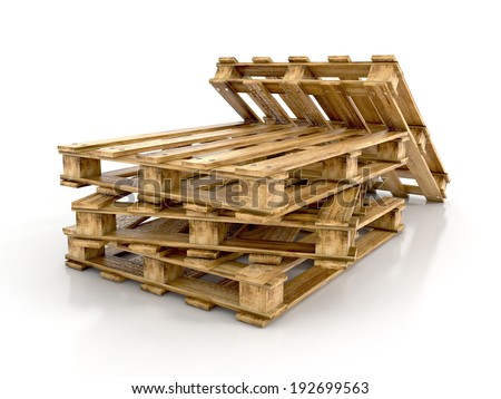 Wooden Pallets Isolated on White Background. 3d illustration - stock photo