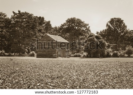 """""""Wooden Shack"""" A sepia toned old wooden barn in Monmouth Battlefield State Park in New Jersey. - stock photo"""