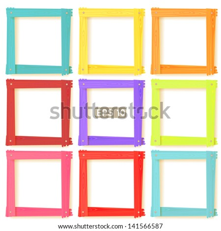 9 wooden square picture frames color rainbow set for your web design. Vector copy also exists - stock photo