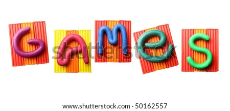 Word GAMES made from plasticine isolated over white background - stock photo