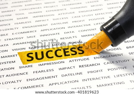 Word success highlighted with marker on paper of other related words. For direction of business strategy success concept - stock photo
