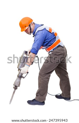 worker with pneumatic hammer drill equipment isolated on white - stock photo