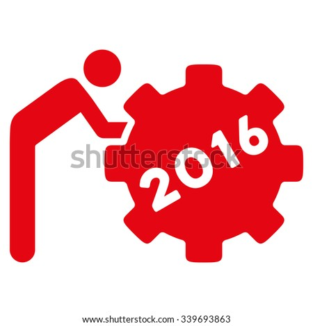 2016 Working Man glyph icon. Style is flat symbol, red color, rounded angles, white background. - stock photo