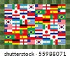 16 World National flag Pattern in grass frame - stock photo