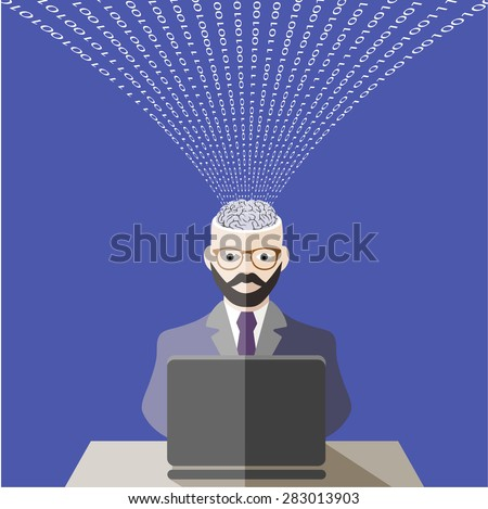 world of information technologies. flat style - stock photo