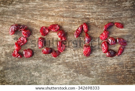 2016 writing  with dried cranberries on wooden background - stock photo