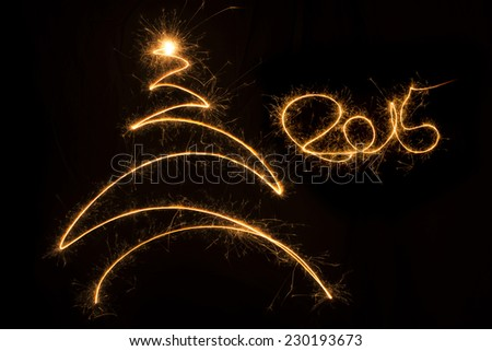2015 written christmas background with christmas tree. - stock photo
