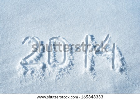 2014 written in snow, new year concept - stock photo