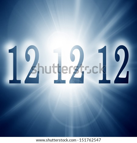 12 12 12 written on a soft blue background (doomsday) - stock photo