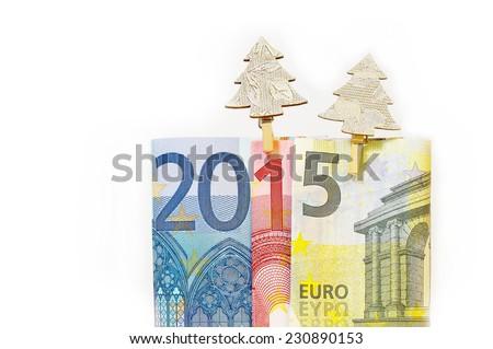 2015 written with euro banknotes  - stock photo