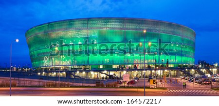 WROCLAW, POLAND - NOVEMBER 10 : The new football stadium in Wroclaw on November 10, 2013 in Wroclaw, Poland. The stadium was one of the arenas for Euro 2012. - stock photo