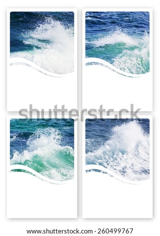 "6""x4"" Wavy Sea Label Set With My Own Photos For Teeth Rinse or Nasal Spray, Copyspace - stock photo"
