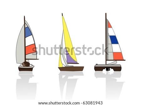 3 yachts - stock photo