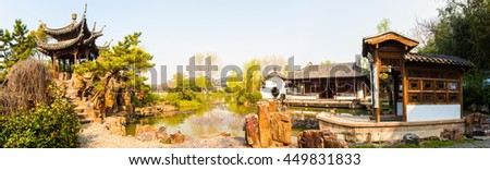 YANGZHON, JIANGSU/CHINA-APR 9: Lender west lake in spring on Apr 9,2015 in Yangzhou, Jiangsu, China. Slender west lake is a well-known scenic spot in China.  - stock photo