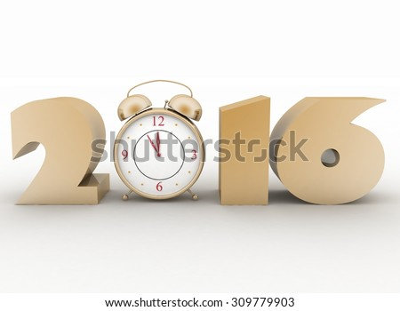 2016 year and clock. Isolated 3D image - stock photo