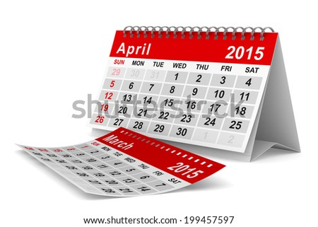 2015 year calendar. April. Isolated 3D image - stock photo