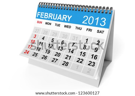2013 year calendar. February calendar on a white background - stock photo