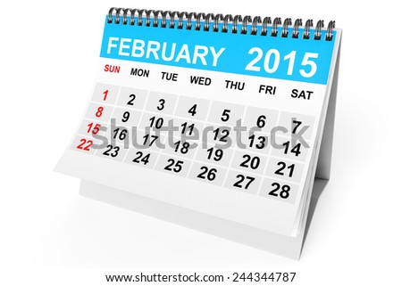 2015 year calendar. February calendar on a white background  - stock photo