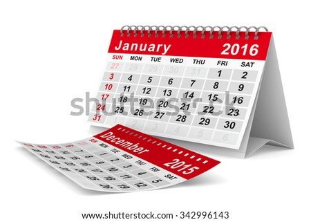 2016 year calendar. January. Isolated 3D image - stock photo