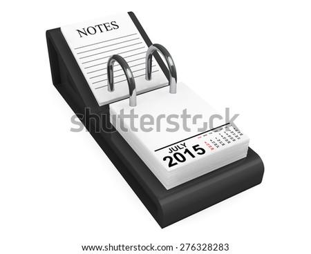 2015 year calendar. July calendar on a white background  - stock photo