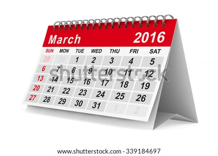 2016 year calendar. March. Isolated 3D image - stock photo