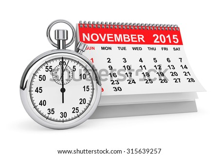 2015 year calendar. November calendar with stopwatch on a white background  - stock photo