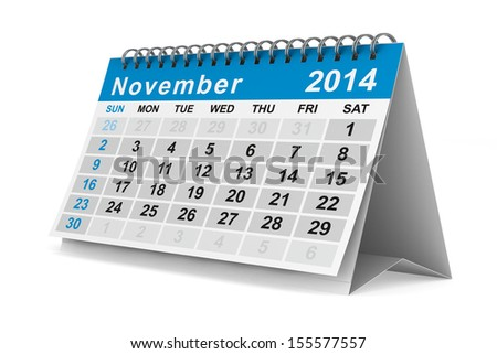 2014 year calendar. November. Isolated 3D image - stock photo