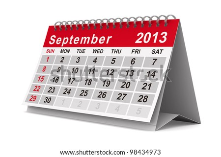 2013 year calendar. September. Isolated 3D image - stock photo