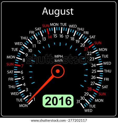 2016 year calendar speedometer car. August.  illustration. - stock photo