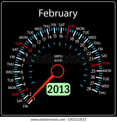 2013 year calendar speedometer car. February. - stock photo