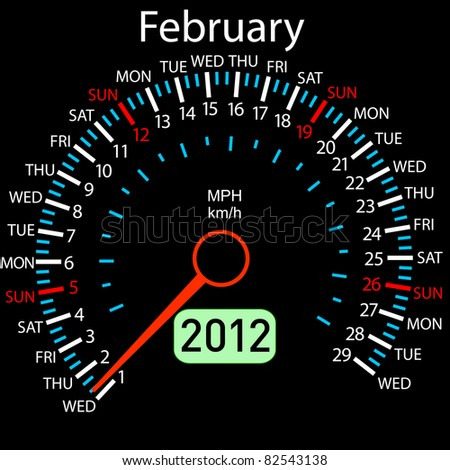 2012 year Calendar speedometer car. February. - stock photo