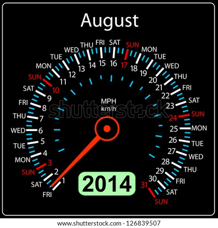 2014 year calendar speedometer car in illustration. August. - stock photo