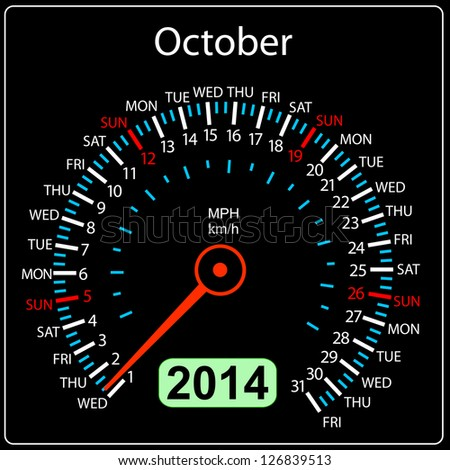 2014 year calendar speedometer car in illustration. October. - stock photo