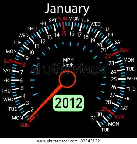 2012 year Calendar speedometer car. January. - stock photo