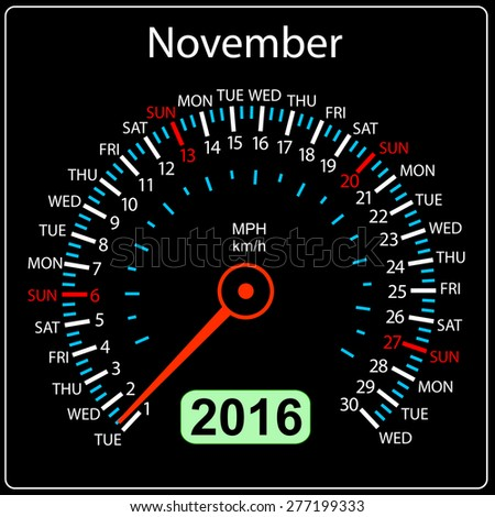 2016 year calendar speedometer car. November.  illustration. - stock photo