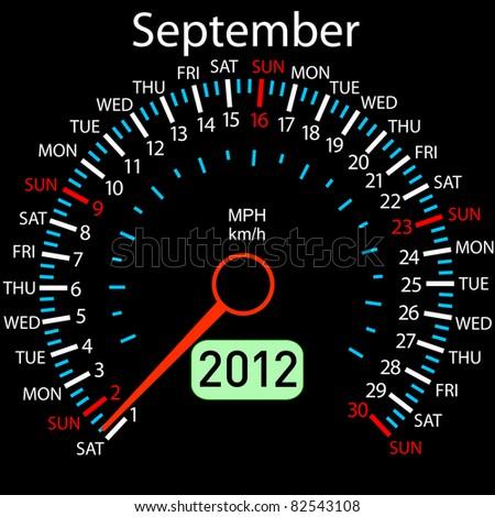 2012 year Calendar speedometer car . September. - stock photo