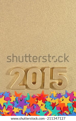 2015 year golden figures and colored stars  - stock photo