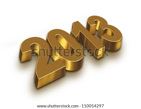 2013 year golden figures with shadow - stock photo