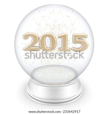 2015 year is in a transparent ball. Isolated 3D image - stock photo
