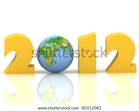 2012 year. Isolated 3D image - stock photo