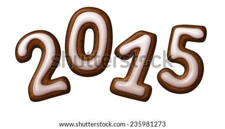 2015 year number, gingerbread cookies numbers decorated with sugar icing, illustration isolated on white background - stock photo