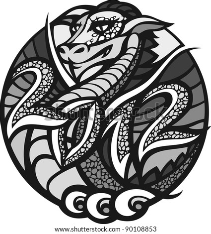 2012 - year of the dragon. There is a dragon in a circle with the date 2012. - stock photo