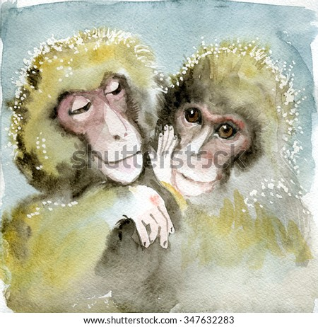 2016 year of the monkey, Watercolor Animal symbol of New Year, Cartoon monkeys babies brown color. Colllections of funny animals in clothes.  - stock photo
