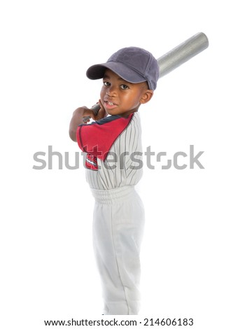 2 year old African American baby boy standing holding baseball bat on isolated background - stock photo
