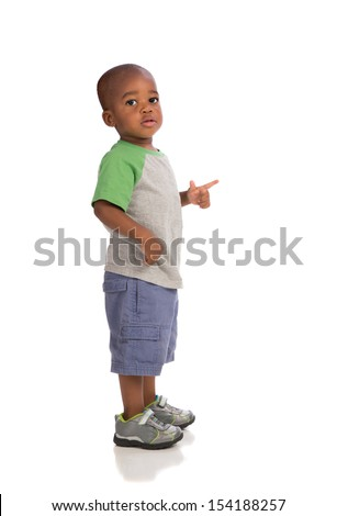 2 year old baby boy standing wear casual outfit isolated on white background - stock photo