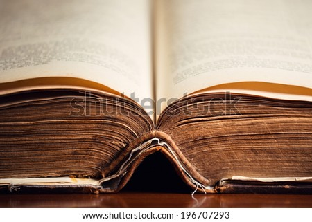150 year old Bible pages  - stock photo