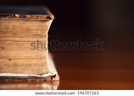 150 year old Bible pages with copyspace  - stock photo